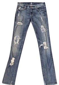7 For All Mankind Ripped Destructed Skinny Jeans-Distressed