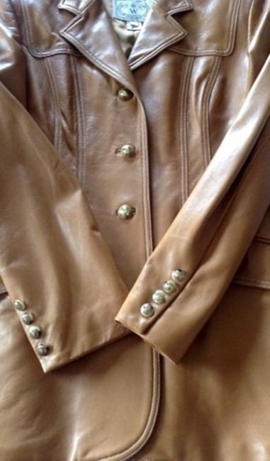 Wathne Leather Riding Jacket Vintage Tan Blazer