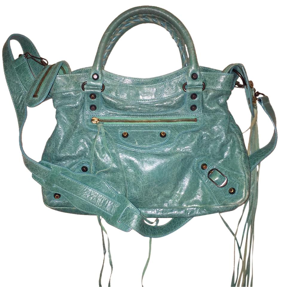 7ae36e6644a9 Balenciaga Classic Town Green Leather Satchel - Tradesy