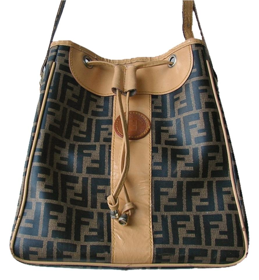4009b4055bb2 Fendi Large Bucket Bag. Signature Monogram Shoulder Bag. Beige Brown Leather  Tote