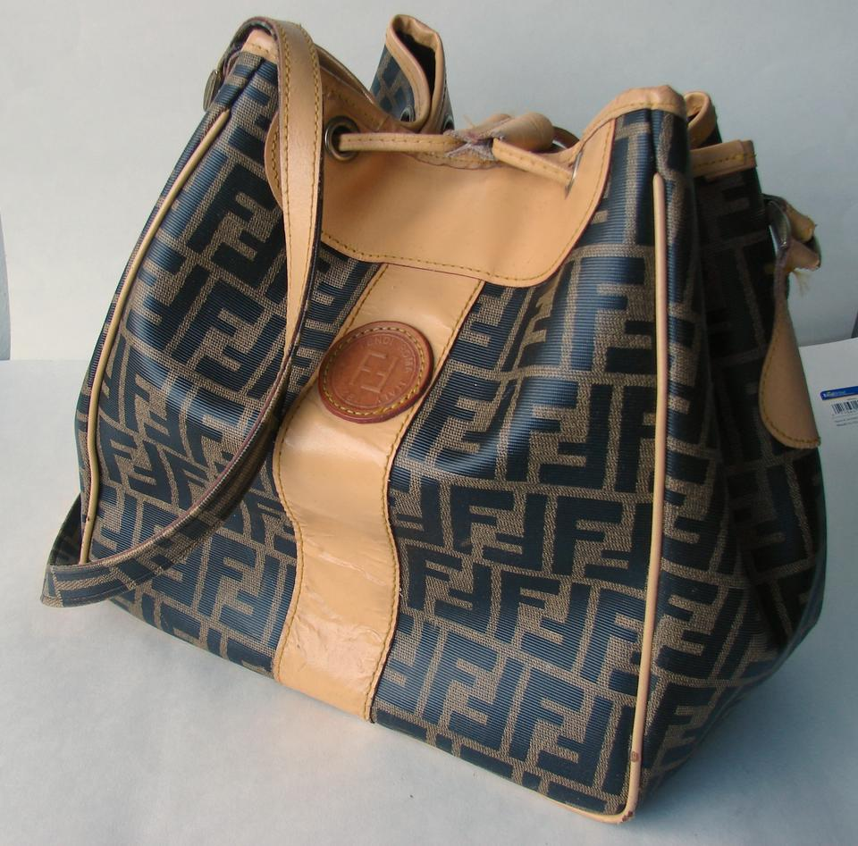 57411beff83f Fendi Large Bucket Bag. Signature Monogram Shoulder Bag. Beige Brown ...