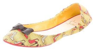 Christian Louboutin Round Toe Air Loubi Print Bow Yellow, Red, Black Flats