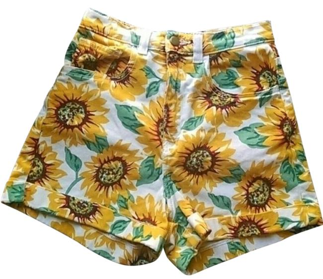Item - Yellow High Waisted Sunflower Shorts Size 4 (S, 27)