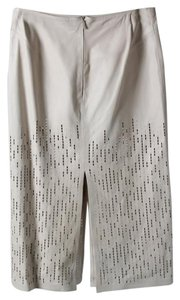 Gucci Leather Sequin Pencil Skirt Off White