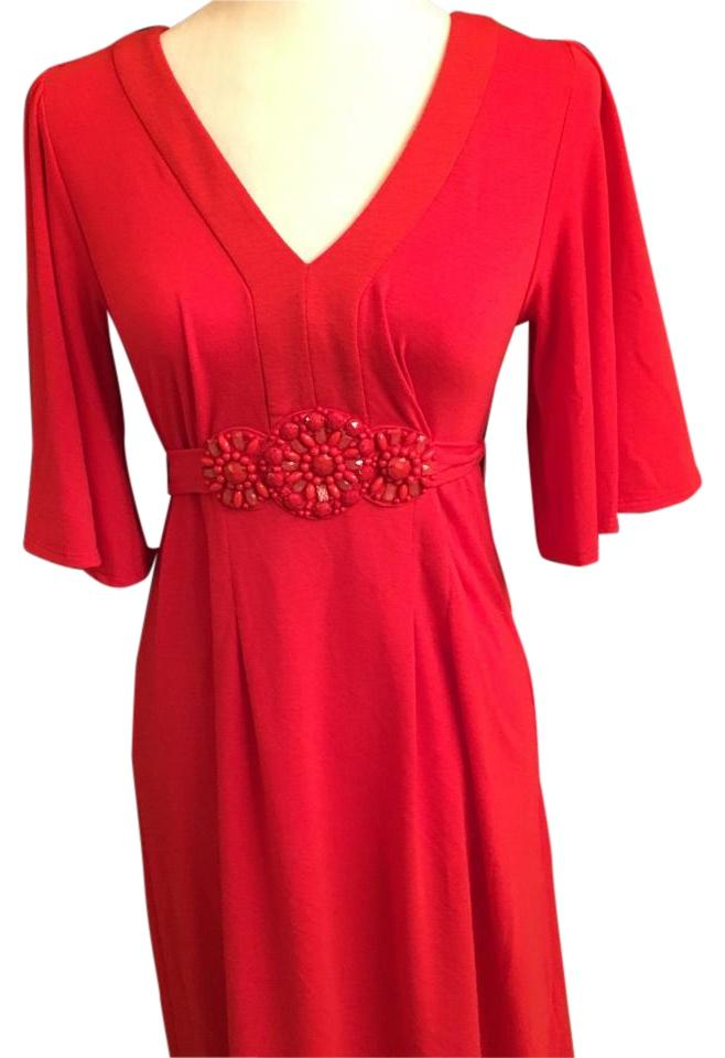 Eci New York Light Red Knee Length Casual Maxi Dress Size 4 S
