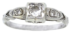 Antique Vintage Art Deco 18K White Gold .35ctw Diamond Engagement Ring 2.2g