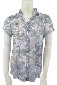 CAbi Silk Floral Top Gray