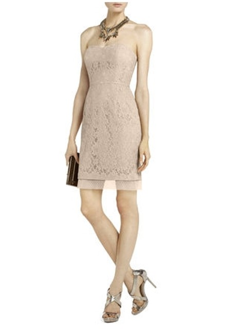 Item - Blush/Dusty Pink Lace: Cotton Nylon. Lining: Polyester Spandex. Roselle Fitted Strapless Feminine Bridesmaid/Mob Dress Size 4 (S)
