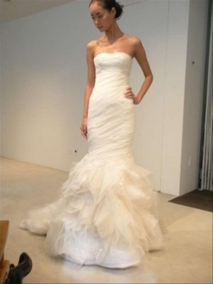 f3eb98458214 Vera Wang Ivory Silk Tulle and Georgette Gemma Feminine Wedding Dress Size 0  (XS) ...