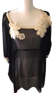 Karen Kane Chiffon Top Black/cream