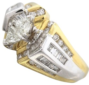 Brilliant Ladies 14K Yellow White Gold 1.07ctw Trillion Diamond Engagement Ring