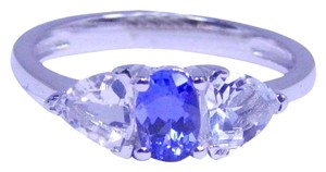 TANZANITE STUNNING OVAL SHAPE TANZANITE RING WHITE TOPAZ STONES IN THREE-STONE SETTING STERLING SILVER