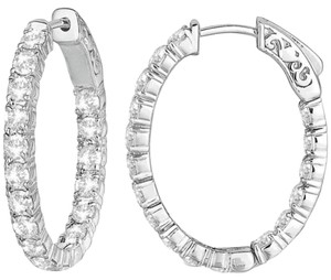 Avi and Co 3.20 cttw Round Cut Diamond Inside-Outside Hoop Earrings 14K White Gold
