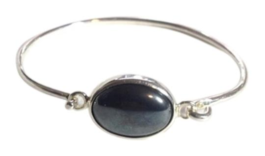 None 925 Sterling Silver Bracelet With Gray Stone