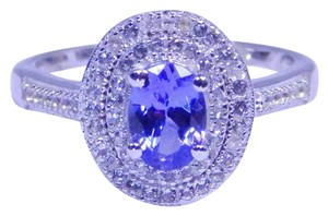TANZANITE LOVELY OVAL SHAPE TANZANITE RING WHITE TOPAZ IN PAVE SETTING BENEFITS STERLING SILVER