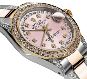 Rolex Women's 31mm Oyster Perpetual Datejus Custom set Diamonds Tone Pink