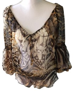 Cache Animal Print Top black,brown,gold,golden yellow,beige