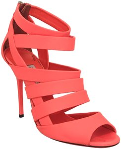 Jimmy Choo Strappy Caged Bright Neon Orange Sandals