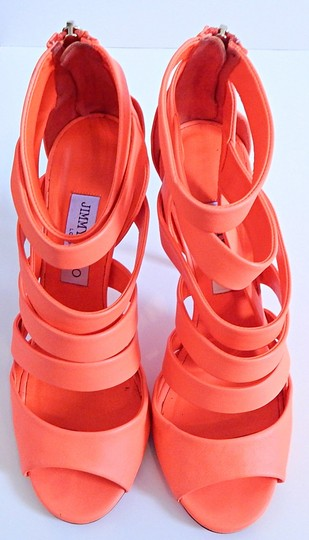 Jimmy Choo Strappy Caged Neon Bright Orange Sandals