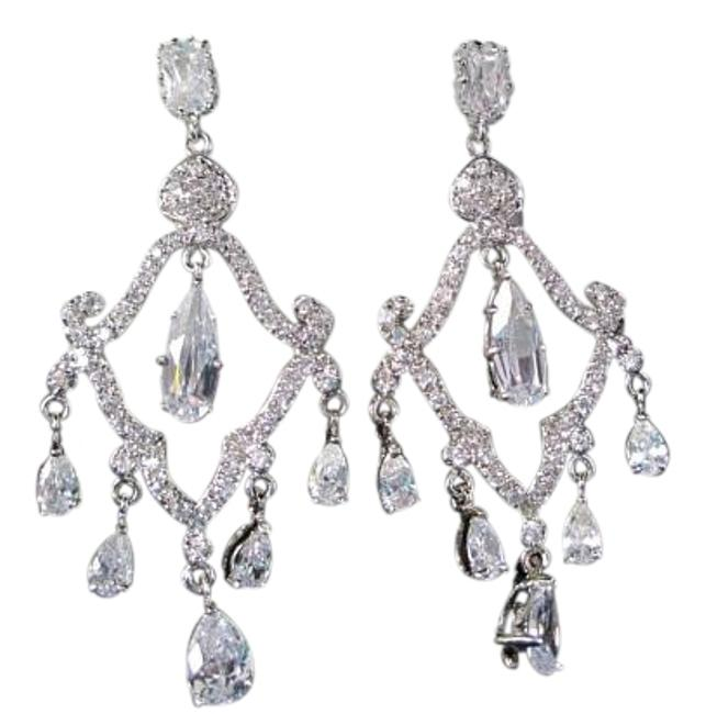 Item - Silver -t545e-cz (E-25) Chandelier with Vintage Style Earrings