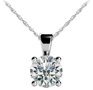 Avi and Co 1.00 ct. Round Brilliant Diamond Solitaire Pendant F-G/VS-2 14K White Gold