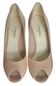 Chanel Open Toe Pearl Calf Leather Beige Pumps