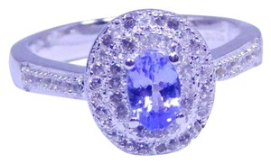 TANZANITE CLASSY OVAL SHAPE TANZANITE RING WHITE TOPAZ IN PAVE SETTING BENEFITS STERLING SILVER