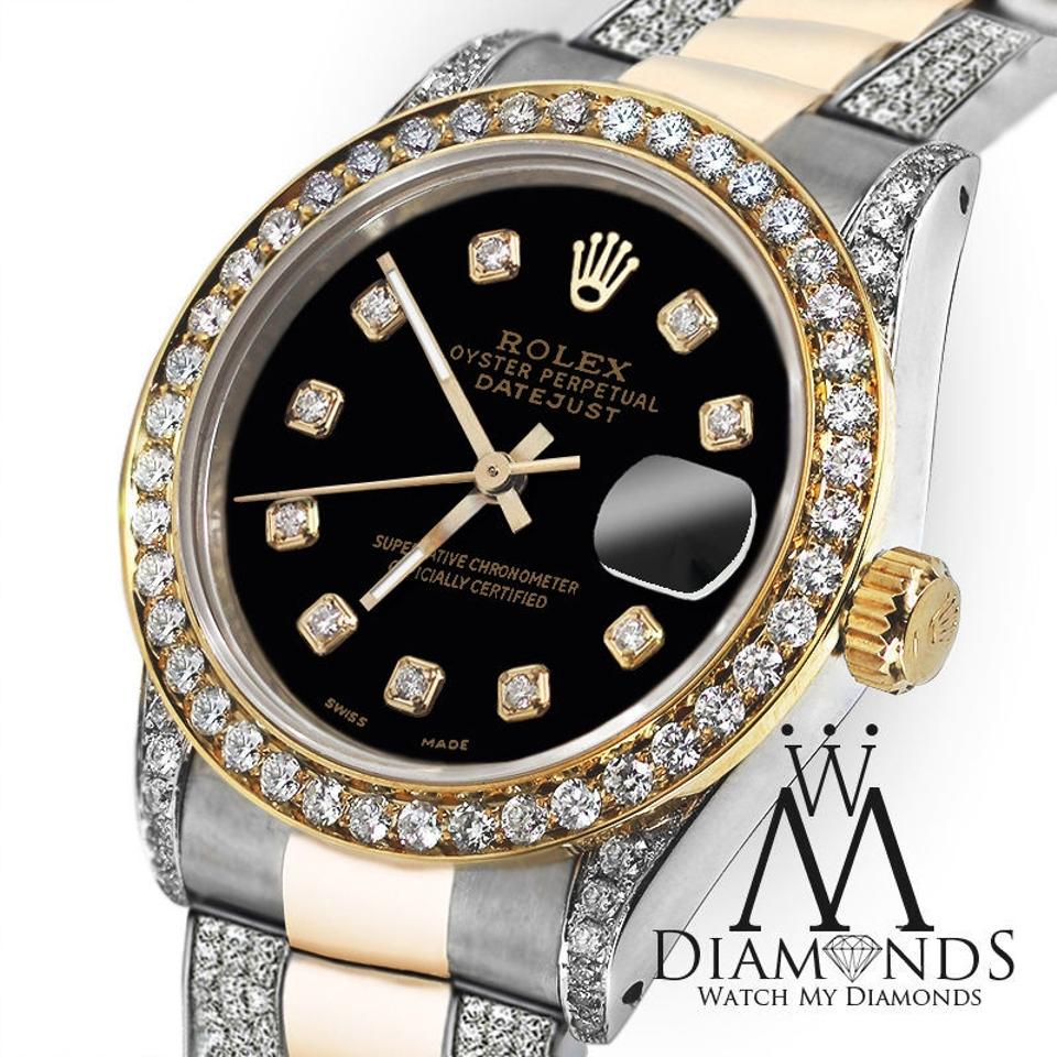 Rolex Oyster Perpetual Datejust Black Face Diamonds