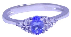 TANZANITE EXQUISITE OVAL SHAPE TANZANITE RING WHITE TOPAZ STONES IN THREE-STONE SETTING STERLING SILVER