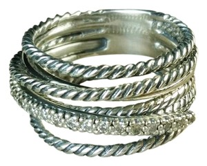 David Yurman Crossover Wide Ring with Diamonds, size 6.25