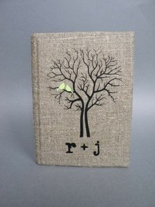Wedding Rustic Guest Book Burlap Linen Wedding Guest Book Bridal Shower Engagement Anniversary Mint Green Birds On Black