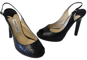 Jimmy Choo Snake Leather Heel Black Pumps