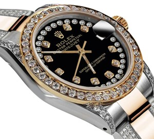 Rolex Women's 31mm Oyster Perpetual Datejust Custom Diamonds Dial Black