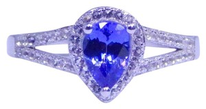 TANZANITE ATTRACTIVE PEAR SHAPE TANZANITE RING WHITE TOPAZ IN SHANK/SPLIT-SHANK STERLING SILVER