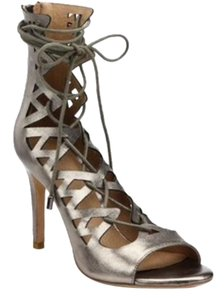 Joie Lace Up Gladiator Caged Pewter Sandals