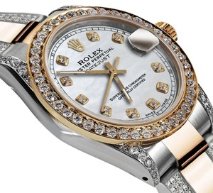 Rolex Women's 31mm Oyster Perpetual Datejust Tone White Diamonds Dial