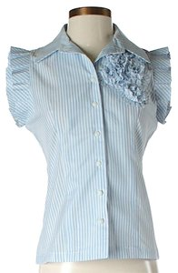 McGinn Striped Ruffle Top *NWT* Blue