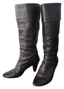 Tahari Knee-high Leather Heeled Black Boots