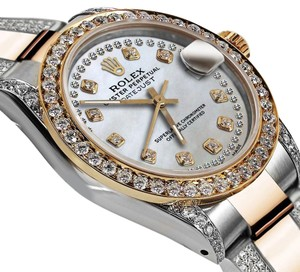 Rolex Women's 31mm Oyster Perpetual Datejust White Color Diamonds Dial