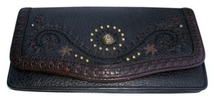 Brighton Two Tone Studded Laced Embroidered Large Wallet