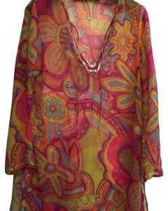 Beautiful, multi color beach coverup with sequin accents