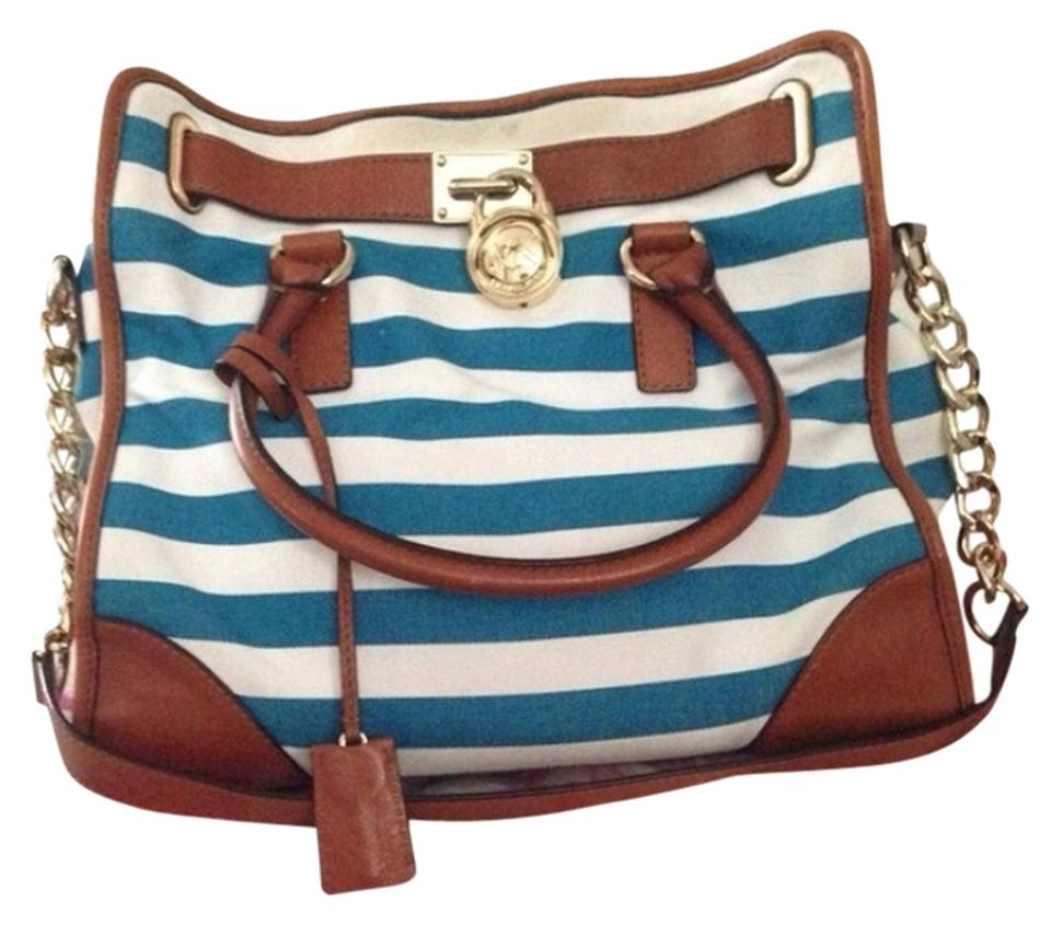 MICHAEL Michael Kors Hamilton Stripe Mk Gold Nautical Tote in Blue white ... 065346d2bd