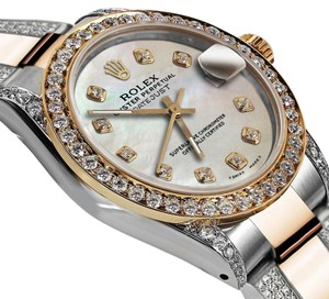 Rolex Women's 31mm Oyster Perpetual Datejust Custom White Tone Diamonds Dial