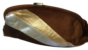Is\bella Suede Caramel, Brown, Silver and Gold Clutch