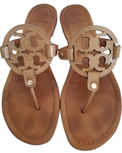 Tory Burch Patent Leather Royal Miller Leather Tan Sandals