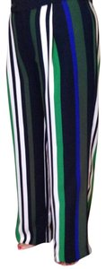 Banana Republic Wide Leg Pants Multi green/blue/black/white stripes