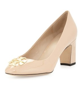 Tory Burch Chunky Gold Patent Nude Pumps
