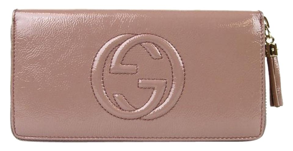 9bff2563bcd Gucci Gucci Soho Soft Patent Leather Zip Around Clutch Wallet Powder Pink  308004 6812 ...
