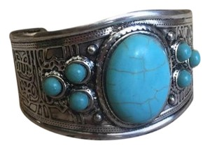 Anthropologie Chunky Silver Turquoise Cuff