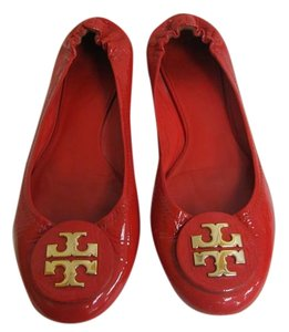 Tory Burch Gold Logo Red Patent Leather Flats